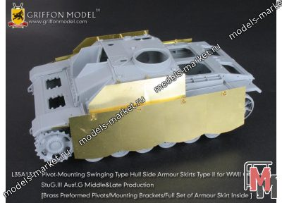 Griffon Model - L35A132 - Pivot-Mounting Swinging Type Hull Side Armour Skirts Type II for WWII German StuG.III Ausf.GMiddle & Late Production