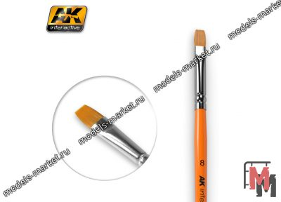 AK Interactive - AK-608 - FLAT BRUSH 8 SYNTHETIC