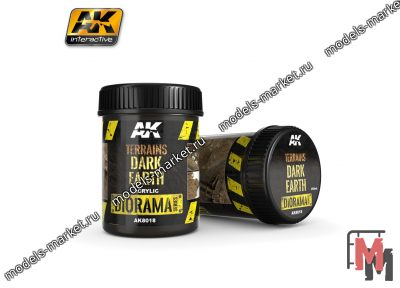 AK Interactive - AK-8018 - TERRAINS DARK EARTH - 250ml (Acrylic)